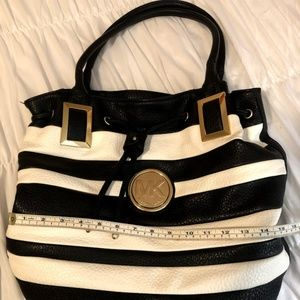 Michael Kors Large Black and White Striped Purse